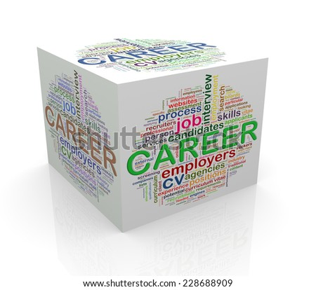 3d rendering of cube box of wordcloud word tags of career - stock photo