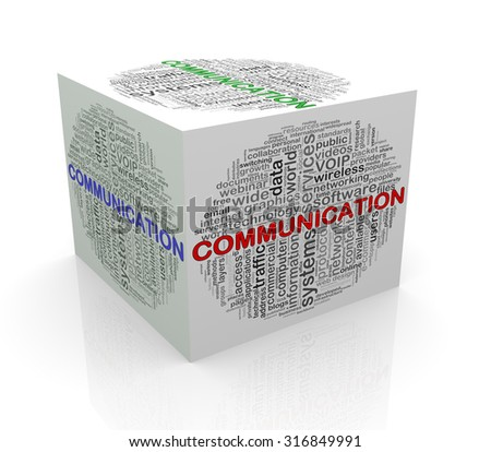3d rendering of cube box of wordcloud word tags of communication - stock photo