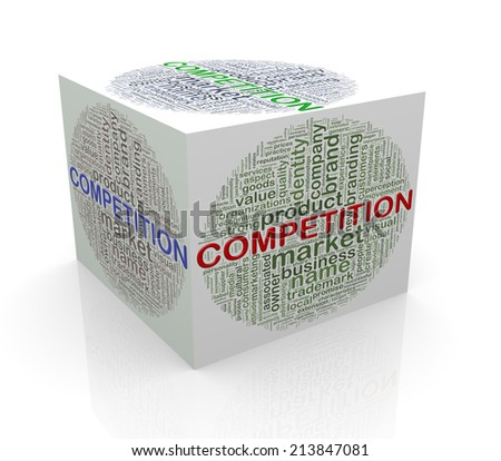 3d rendering of cube box of wordcloud word tags of competition  - stock photo