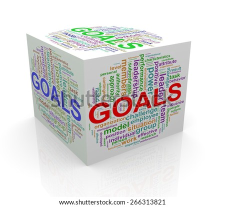 3d rendering of cube box of wordcloud word tags of goals - stock photo