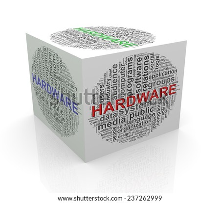 3d rendering of cube box of wordcloud word tags of hardware - stock photo