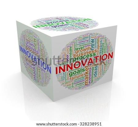 3d rendering of cube box of wordcloud word tags of innovation - stock photo
