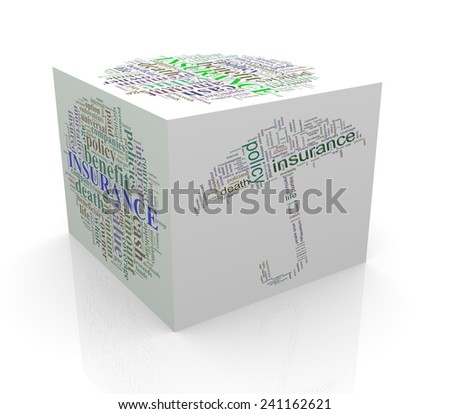 3d rendering of cube box of wordcloud word tags of life insurance - stock photo