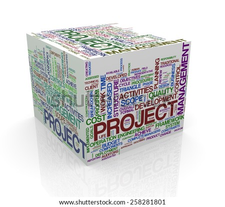 3d rendering of cube box of wordcloud word tags of project management - stock photo