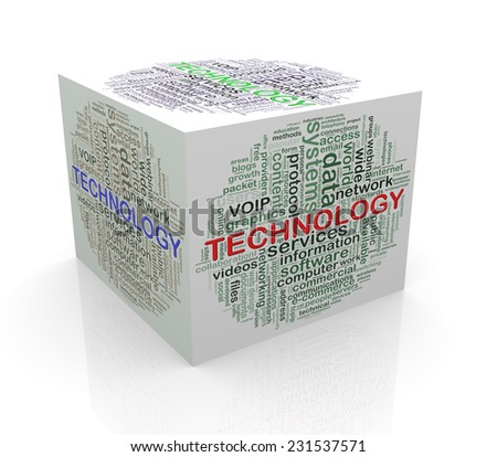 3d rendering of cube box of wordcloud word tags of technology - stock photo
