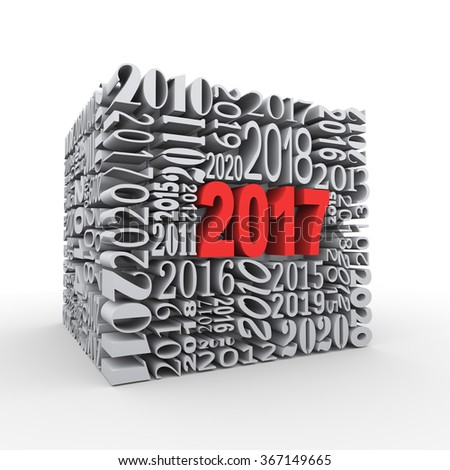 3d rendering of cube shape created with various year numbers and having one large new year 2017
