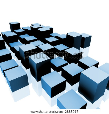 3D rendering of cubes. - stock photo