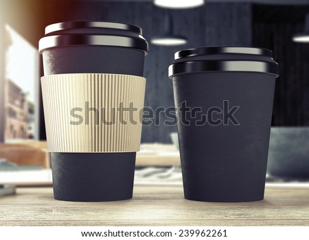 3d rendering of cup on table - stock photo