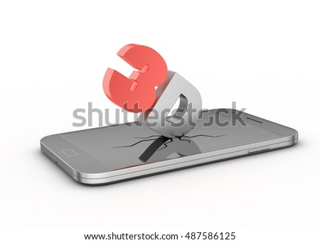 3d rendering of 3d logo with smart phone