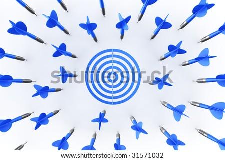 3d rendering of dart arrows missing the target - stock photo