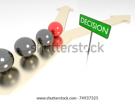 3D rendering of decision making concept.