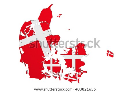 3d rendering of Denmark map and flag on white background. - stock photo
