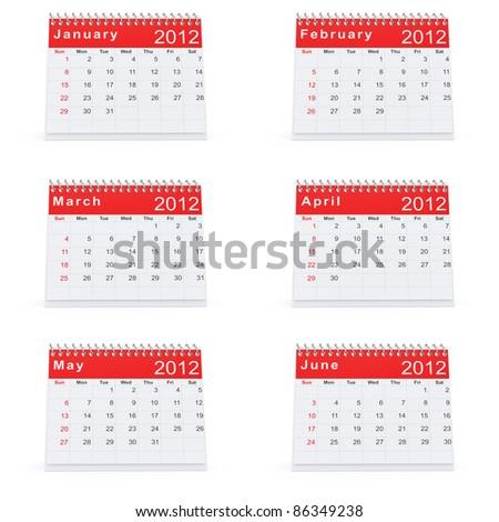 3D rendering of 2012 desk calendar January to June - stock photo