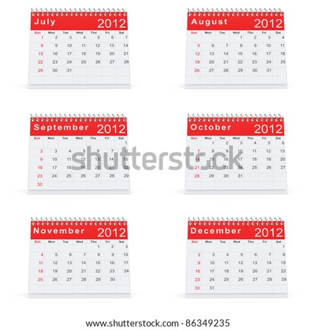 3D rendering of 2012 desk calendar July to December - stock photo