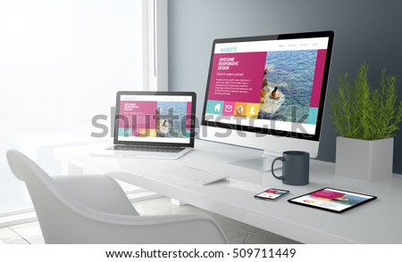 3d rendering of desktop with all devices showing modern design website. All screen graphics are made up.