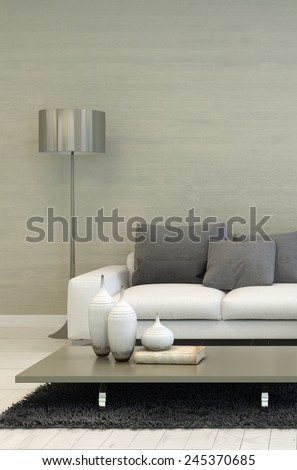 3D Rendering of Detail of Modern Living Room with Metal Floor Lamp, White Sofa, and Coffee Table with Candle Accents - stock photo