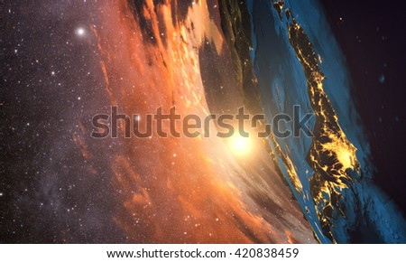 3D rendering of detailed colorful Earth,  highly detailed planet earth in the evening, sunset over japan, Elements of this image furnished by NASA - stock photo