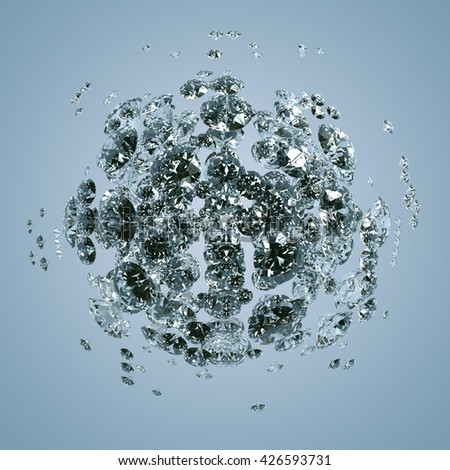 3D rendering of diamonds. Sci-fi background. Abstract sphere in empty space. - stock photo