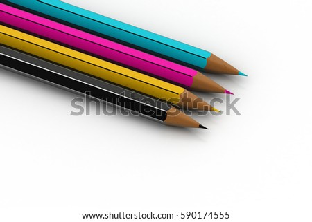 3d rendering of Different colour pencils