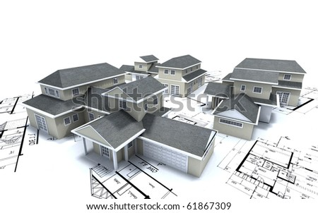 3D rendering of different residential architecture models on top of blueprints