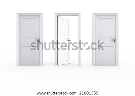 3d rendering of 3 doors on a row with the middle door open - stock photo