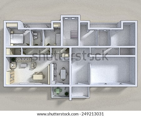 3d rendering of double apartment with furnishings cartoon style - stock photo
