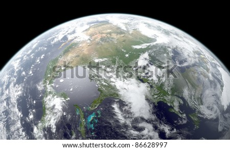 3D rendering of Earth globe showing North America. Textures NASA.