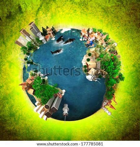 3D rendering of ecology oriented version of the planet Earth. The Earth texture comes from the Nasa free of use images - stock photo