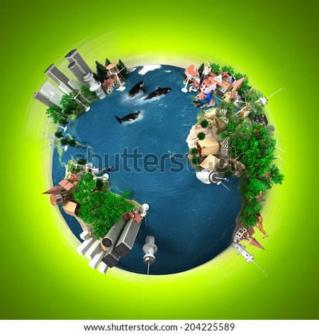3D rendering of ecology oriented version of the planet Earth. The original Earth texture comes for the Nasa free of use images - stock photo