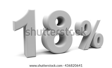 3D rendering of eighteen percents text, with big fonts isolated on white background.