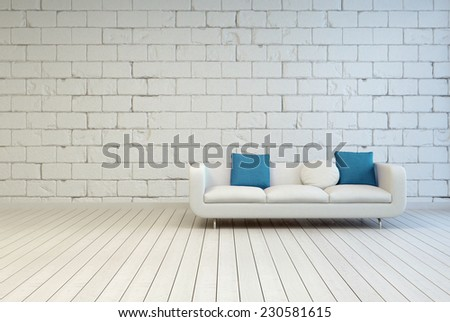 3D Rendering of Elegant White Couch with White and Blue Green Pillows on an Empty Room with Seamless White Block Pattern Wall Design and Wooden Floor. - stock photo
