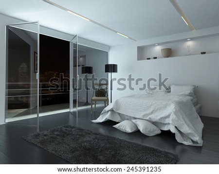 3D Rendering of Elegant white modern bedroom interior with large view windows overlooking a night sky and balcony illuminated by recessed down lights with cool grey and white decor - stock photo