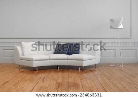 3D Rendering of Elegant White Sofa, with White and Gray Pillows, and Artistic Lamp Shade, on Empty Room with White Wall and Brown Wooden Floor. - stock photo
