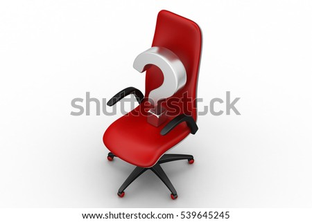 3d rendering of empty chair with  question mark
