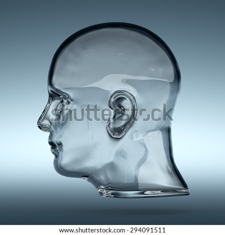 3d rendering of empty glass transparent human head - stock photo