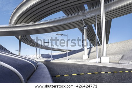 3D rendering of empty highway transportation concept