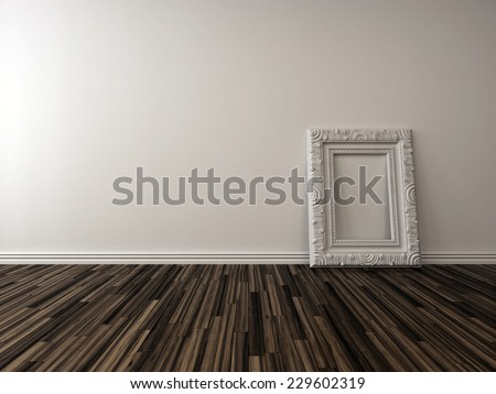3D Rendering of Empty living room interior with a single ornate white picture frame standing against the white painted brick wall on a hardwood parquet floor - stock photo