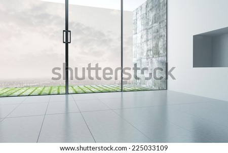 3D Rendering of Empty room interior with extensively glazed facade - stock photo