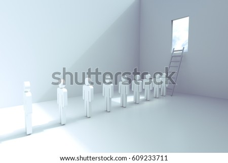 3d rendering of empty room with ladder and open window