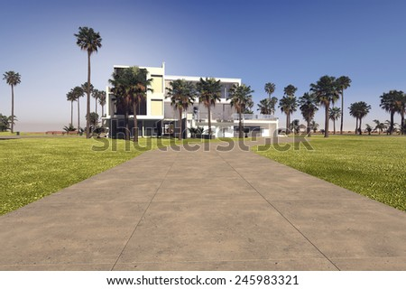 3D Rendering of Entrance driveway to a large modern whitewashed tropical villa on a luxiry estate with large manicured grounds and palm trees - stock photo