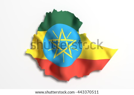 3d rendering of Ethiopia map and flag. - stock photo