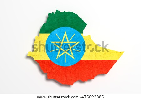 3d rendering of Ethiopia map and flag.
