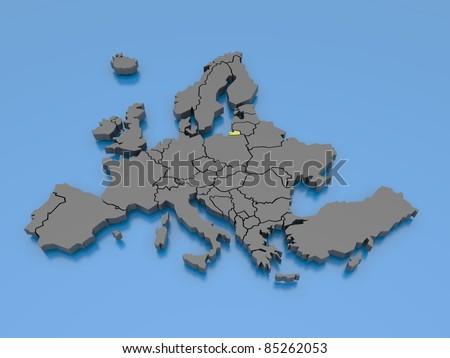3d rendering of Europe - Kalinigrad Oblast - stock photo