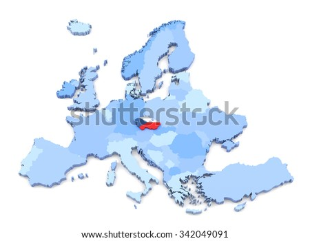3D Rendering of Europe Map, Czech Republic with Flag - stock photo