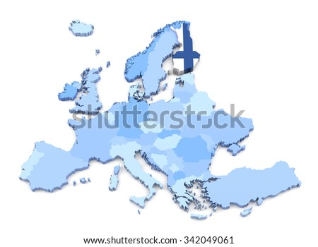 3D Rendering of Europe Map, Finland with Flag - stock photo