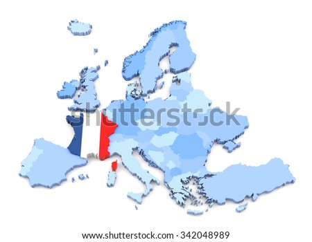3D Rendering of Europe Map, France with Flag - stock photo