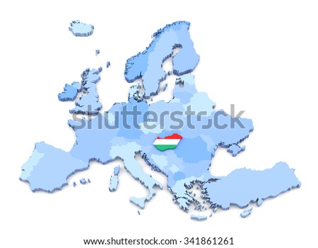 3D Rendering of Europe Map, Hungary with Flag - stock photo