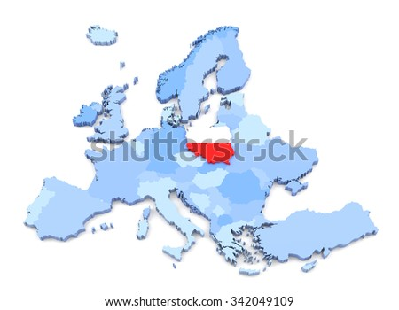 3D Rendering of Europe Map, Poland with Flag - stock photo