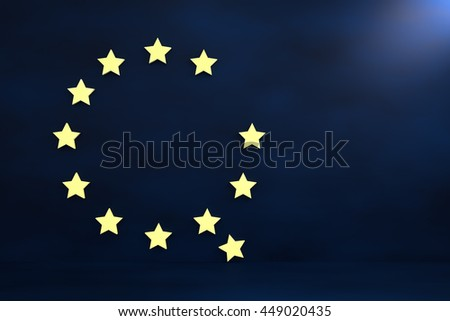 3D rendering of European union stars falling down