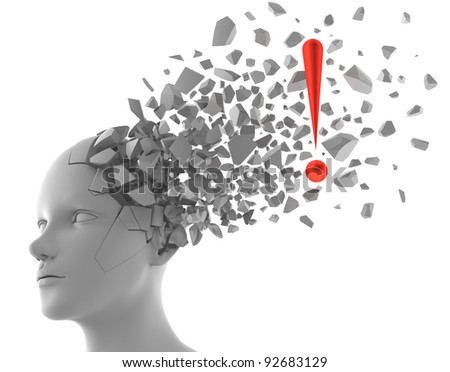 3D rendering of exclamation mark coming out from a model of human head - stock photo